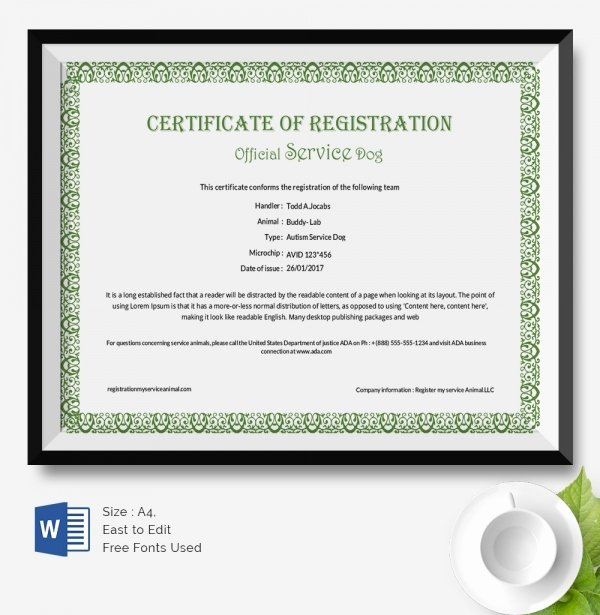 Service Dog Certificate Template Awesome 25 Certificate Templates
