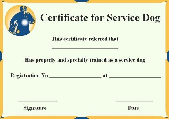 Service Dog Certificate Template Elegant Service Dog Certificate Template 10 Word Templates for