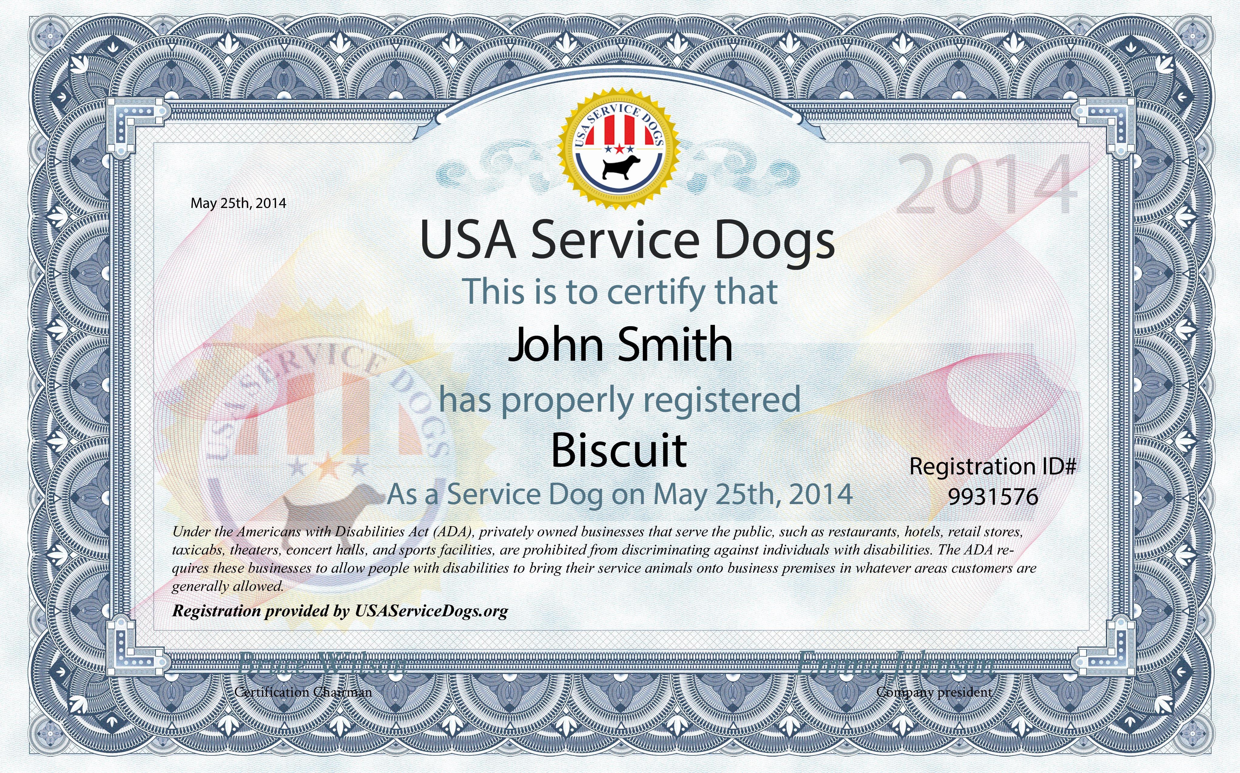 Service Dog Certificate Template New Usa Service Dogs order Service Dog Kit
