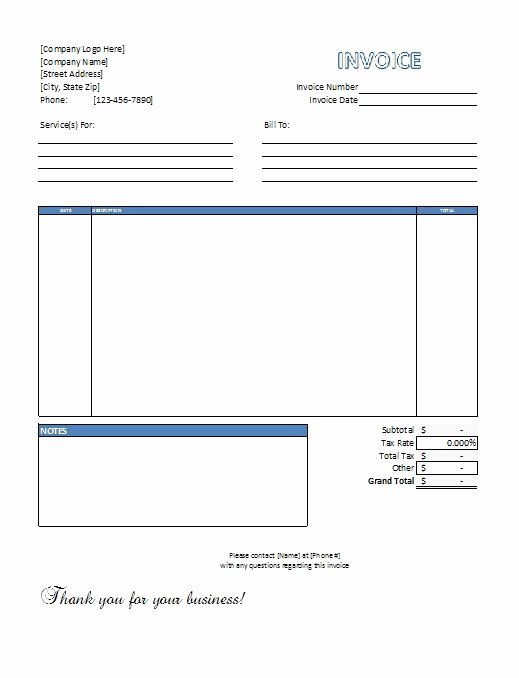 Service Invoice Template Free Beautiful Excel Service Invoice Template Free Download