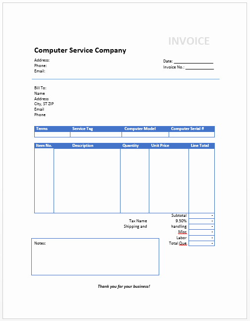 puter invoice template