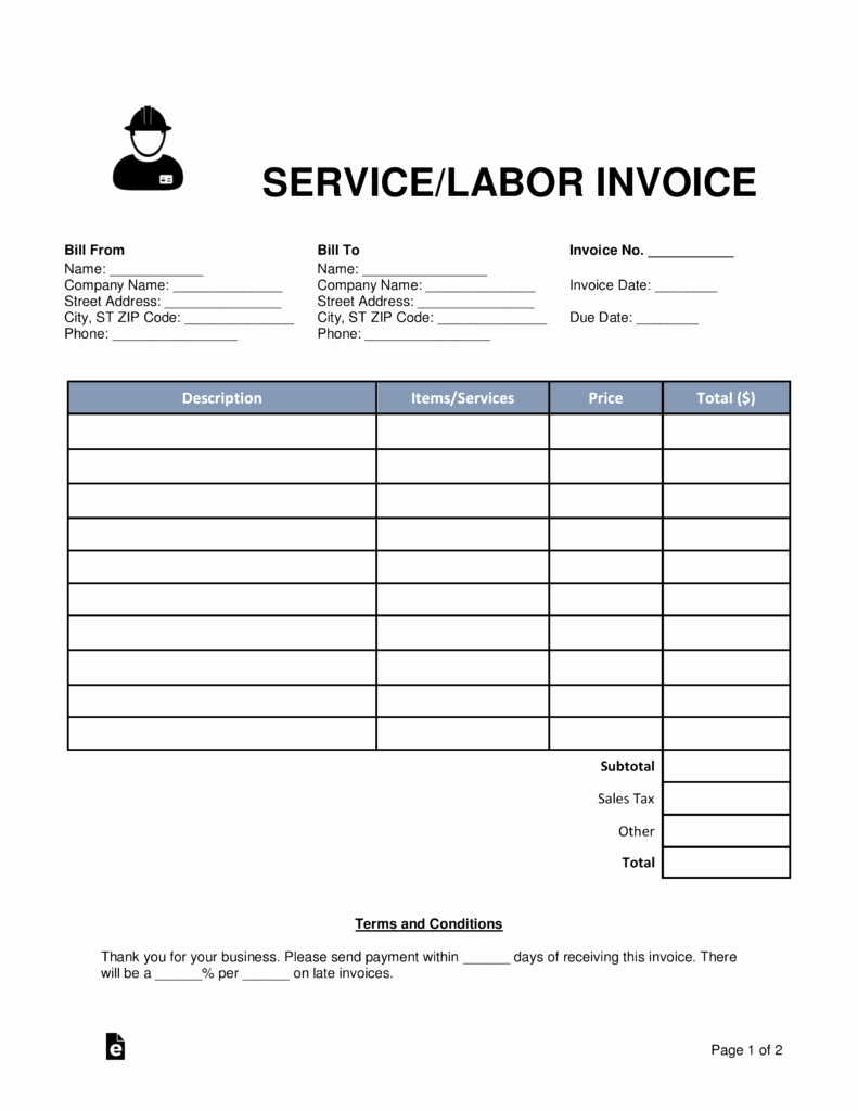 Service Invoice Template Free New Free Service Labor Invoice Template Word Pdf