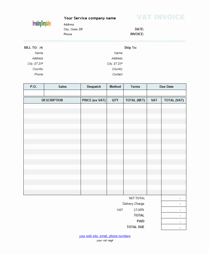 Service Invoice Template Free New Free Template for Invoice for Services Rendered 3