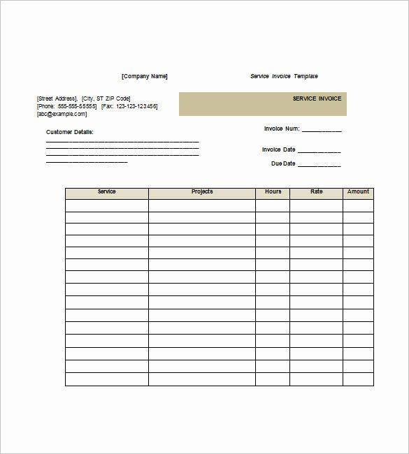Service Invoice Template Free Unique Service Invoice Templates – 11 Free Word Excel Pdf