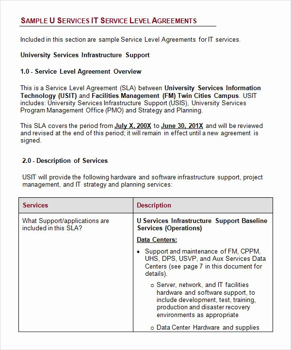 Service Level Agreement Template Beautiful 14 Sample Service Level Agreement Templates – Pdf Word