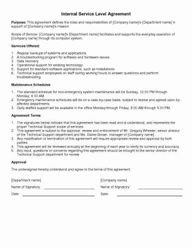 Service Level Agreement Template Beautiful 31 Sample Agreement Templates In Microsoft Word