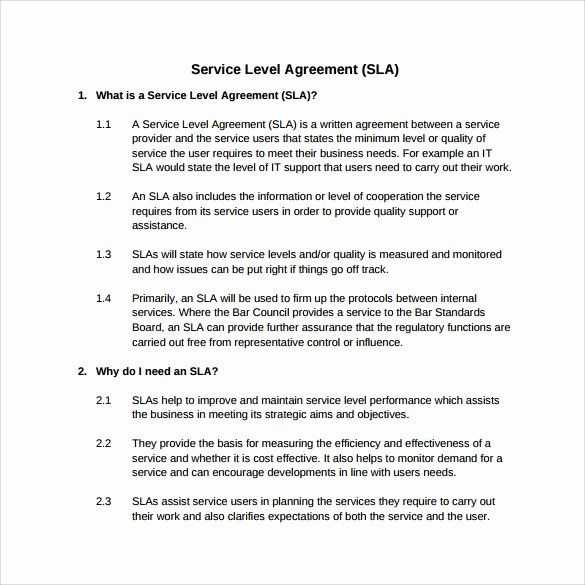 Service Level Agreement Template Best Of 14 Sample Service Level Agreement Templates – Pdf Word