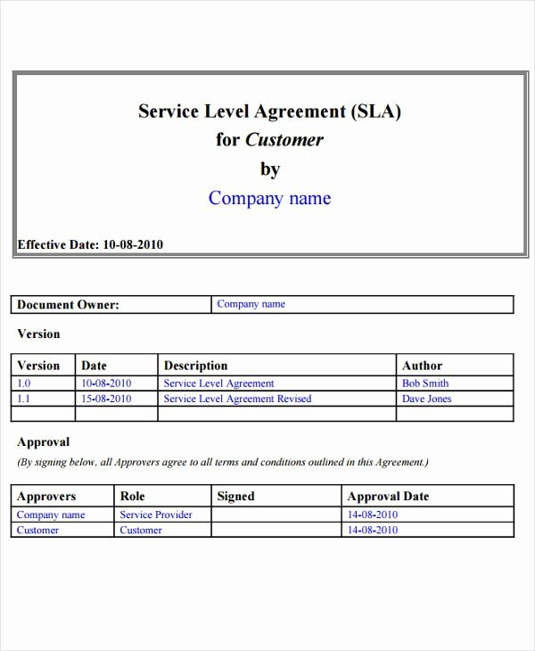 Service Level Agreement Template Best Of 9 Service Level Agreement Templates Free Word Pdf