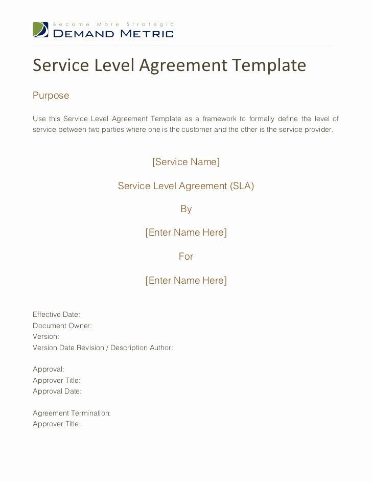 Service Level Agreement Template Elegant Service Level Agreement Template