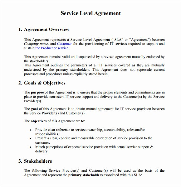 Service Level Agreement Template Inspirational 16 Service Level Agreement Samples Word Pdf