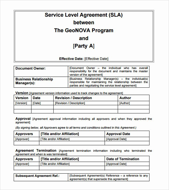 Service Level Agreement Template Luxury 16 Service Level Agreement Samples Word Pdf