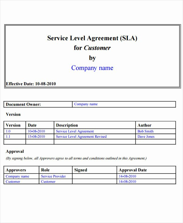 Service Level Agreement Template New 17 Sample Service Level Agreement Templates Word Pdf