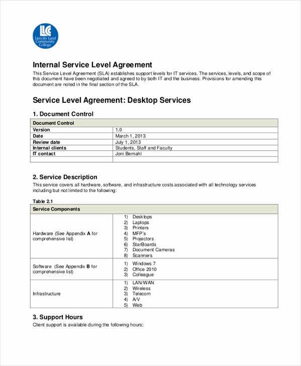 Service Level Agreement Template New Sample Service Level Agreement form 10 Free Documents