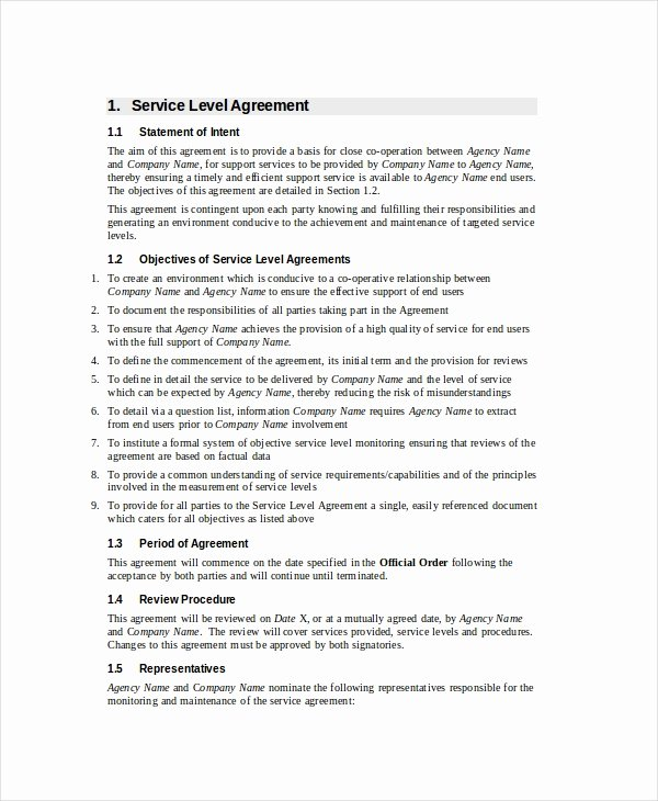 Service Level Agreement Template New Service Level Agreement 20 Free Pdf Word Psd