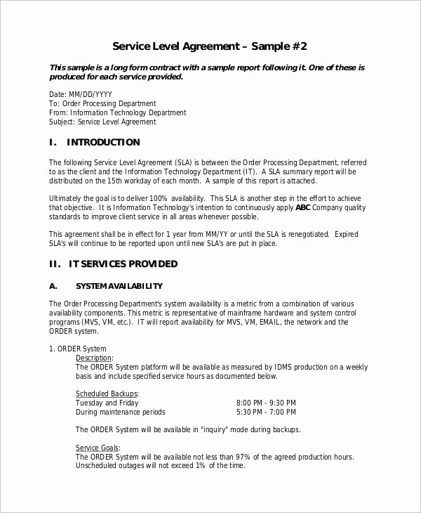 Service Level Agreement Template Unique Sample Service Level Agreement 11 Examples In Word Pdf