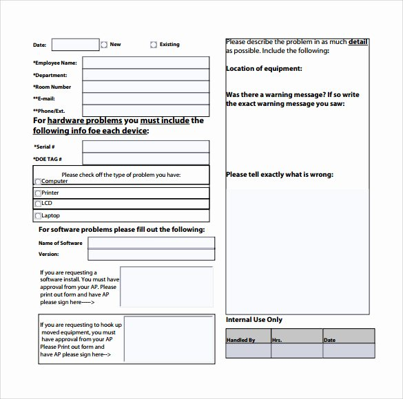 Service Request form Template Luxury 13 Puter Service Request form Templates to Download