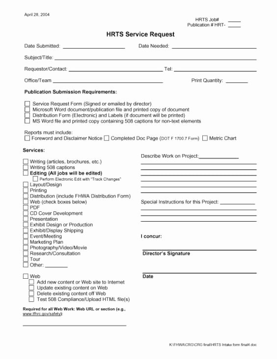 Service Request form Template New 4 Service Request form Templates Word Word Excel Templates
