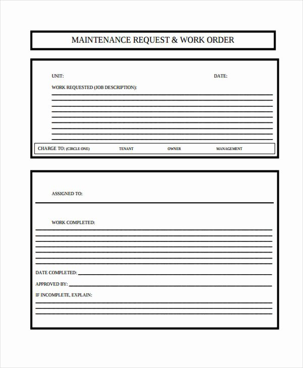 Service Work orders Template Awesome 6 Maintenance Work order form Sample Free Sample