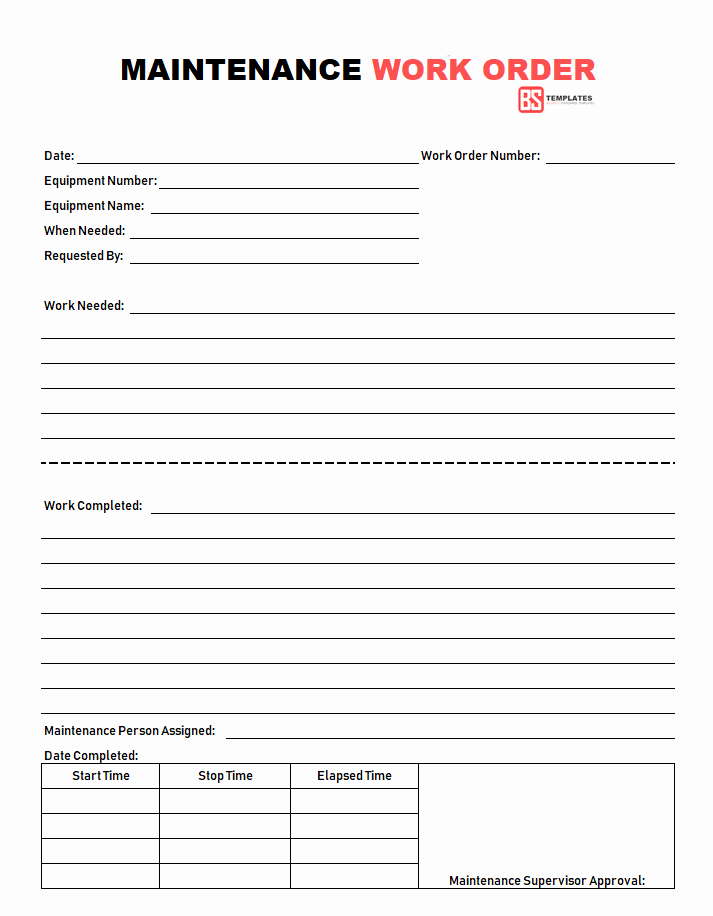 Service Work orders Template Beautiful Work order