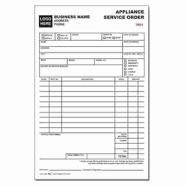 Service Work orders Template Elegant Appliance Service order form