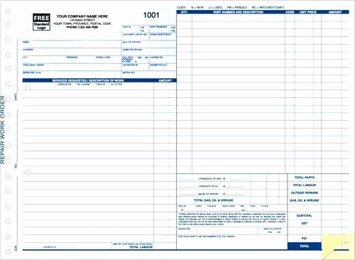 Service Work orders Template Lovely Blank Auto Repair Invoice Automotive Work order Template
