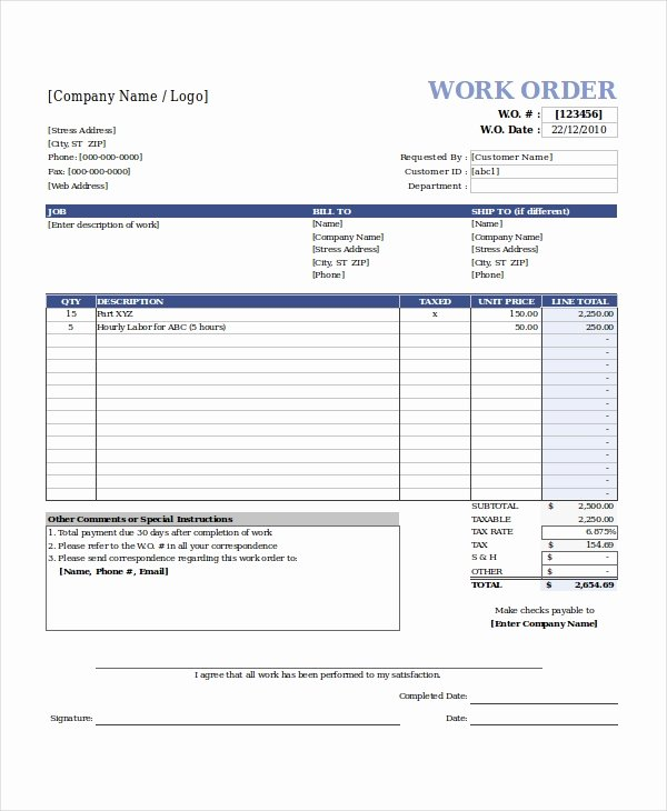 Service Work orders Template Luxury Excel Work order Template 13 Free Excel Document