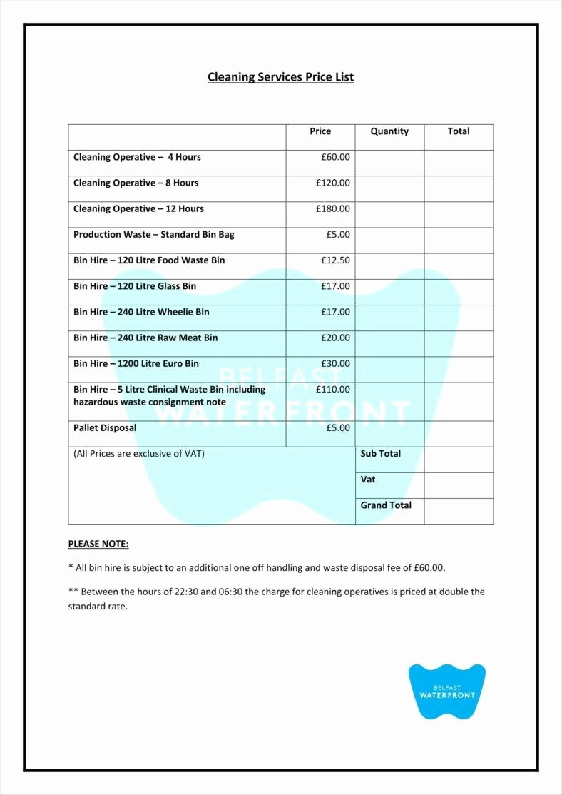 Services Price List Template Best Of 9 Service Price List Templates Free Samples Examples