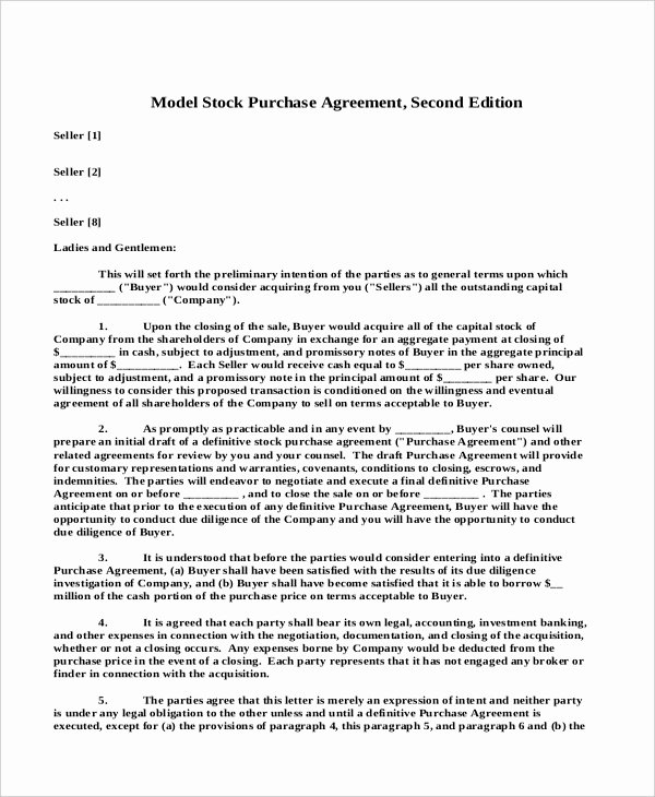 Share Purchase Agreement Template Elegant Sample Stock Purchase Agreement form 7 Free Documents