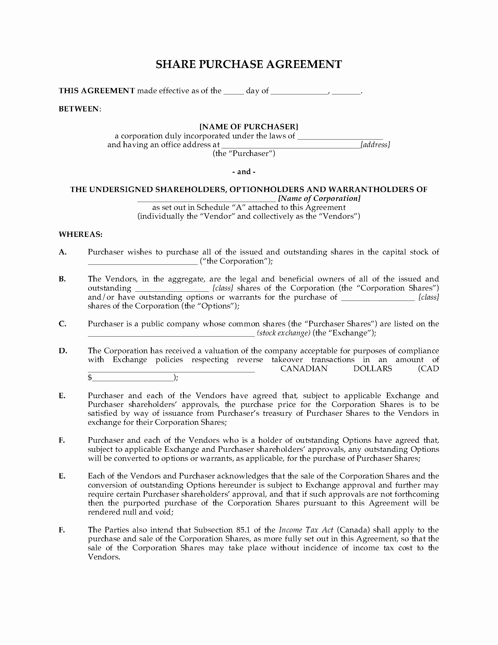Share Purchase Agreement Template Inspirational Alberta Purchase Agreement for Reverse Takeover