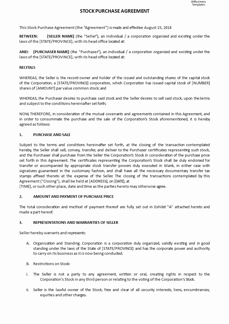 Share Purchase Agreement Template Inspirational Stock Purchase Agreement