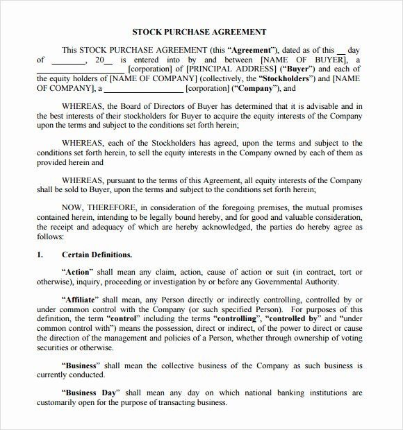 Share Purchase Agreement Template Lovely 9 Stock Purchase Agreement Samples