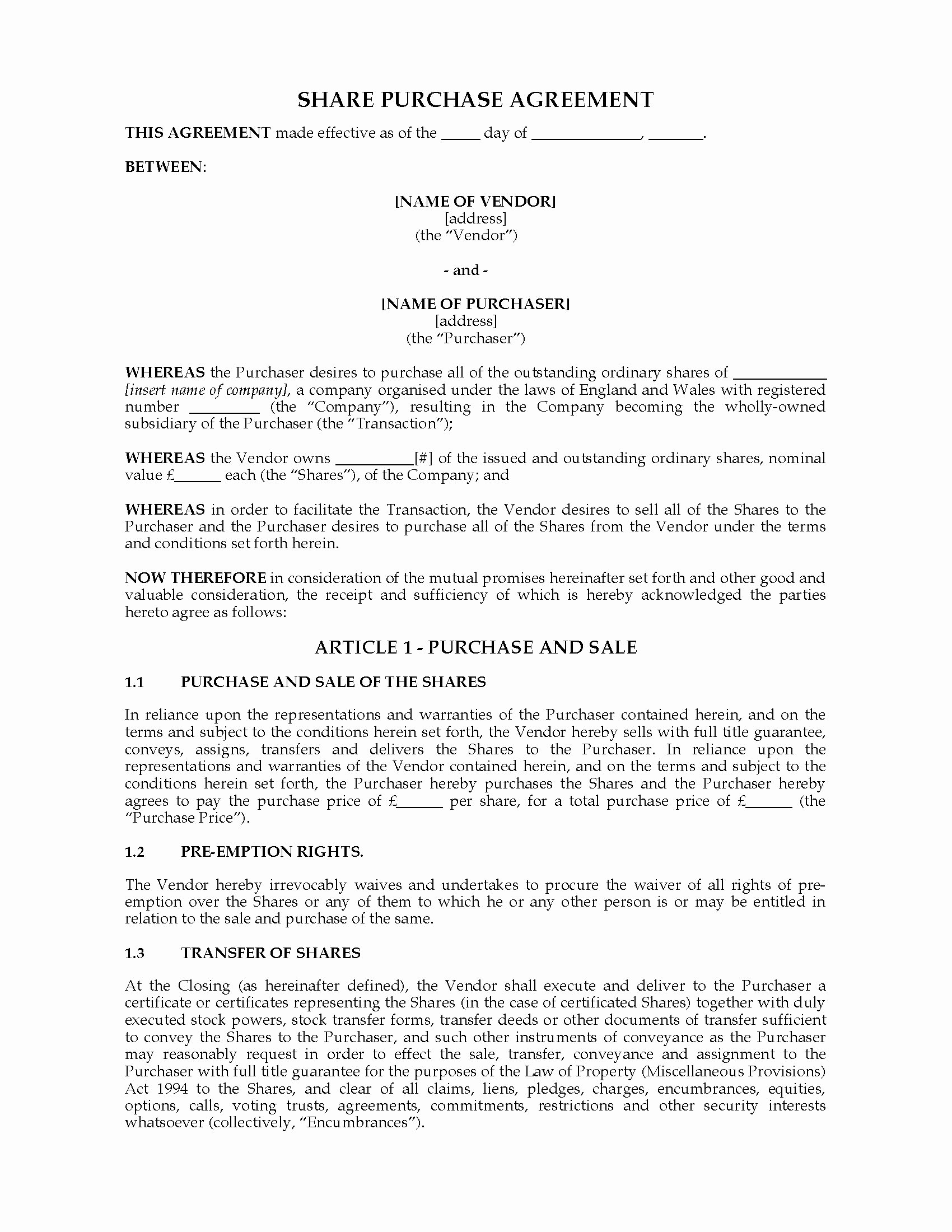 Share Purchase Agreement Template Lovely Uk Purchase Agreement
