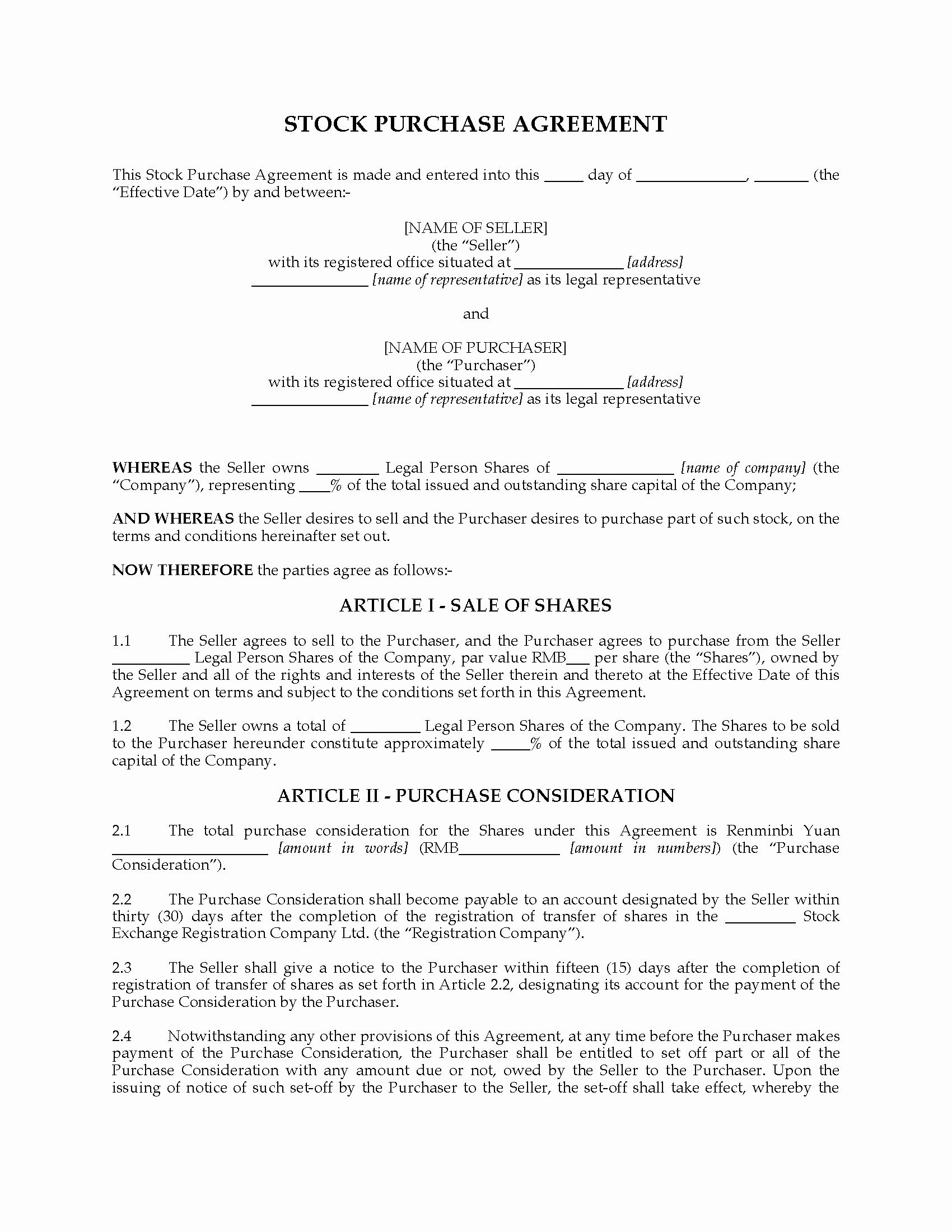 Share Purchase Agreement Template Luxury China Stock Purchase Agreement
