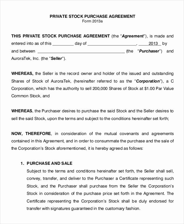 Share Purchase Agreement Template Unique 11 Stock Purchase Agreement form Samples Free Sample