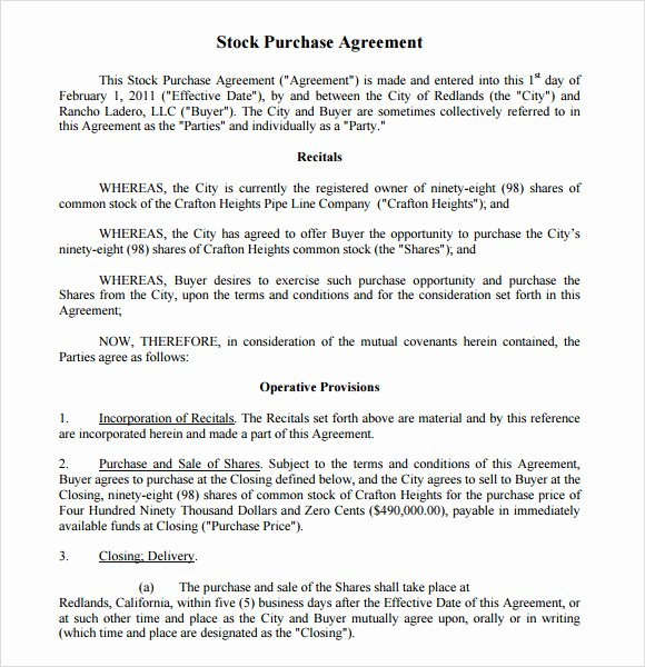Share Purchase Agreement Template Unique Stock Purchase Agreement 8 Free Samples Examples