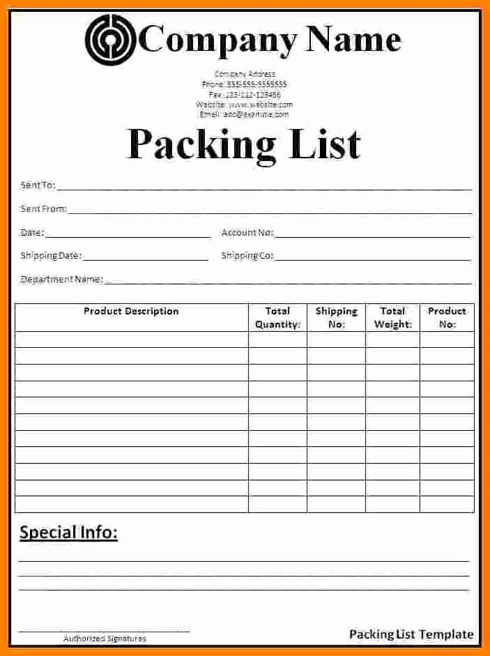 Shipping Packing List Template Beautiful 7 Packing Checklist Template