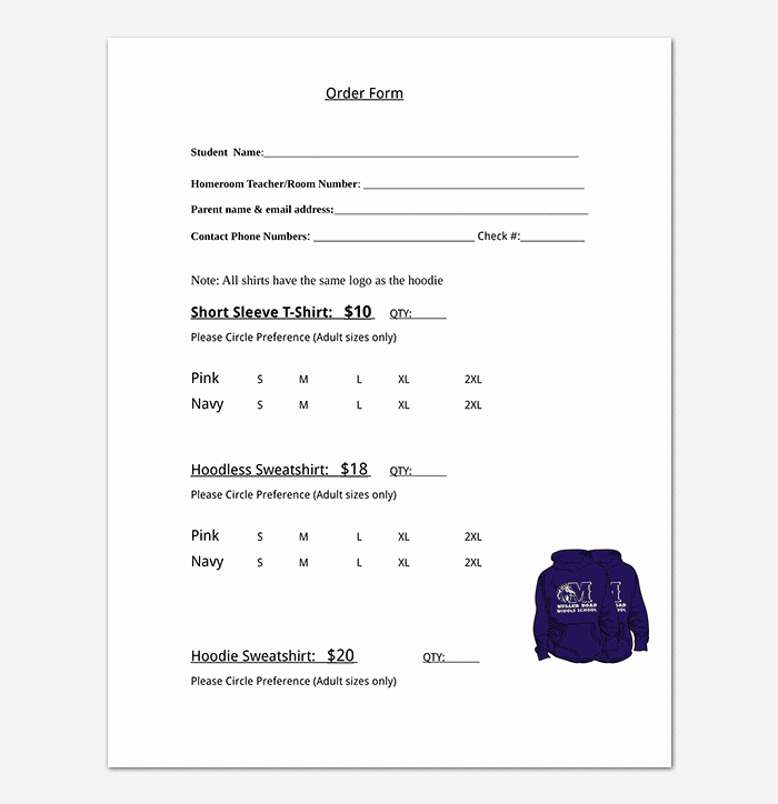 Shirt order form Template Lovely T Shirt order form Template 17 Word Excel Pdf