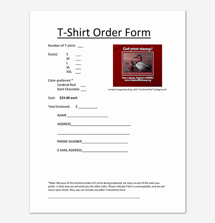 Shirt order form Template Unique T Shirt order form Template 17 Word Excel Pdf