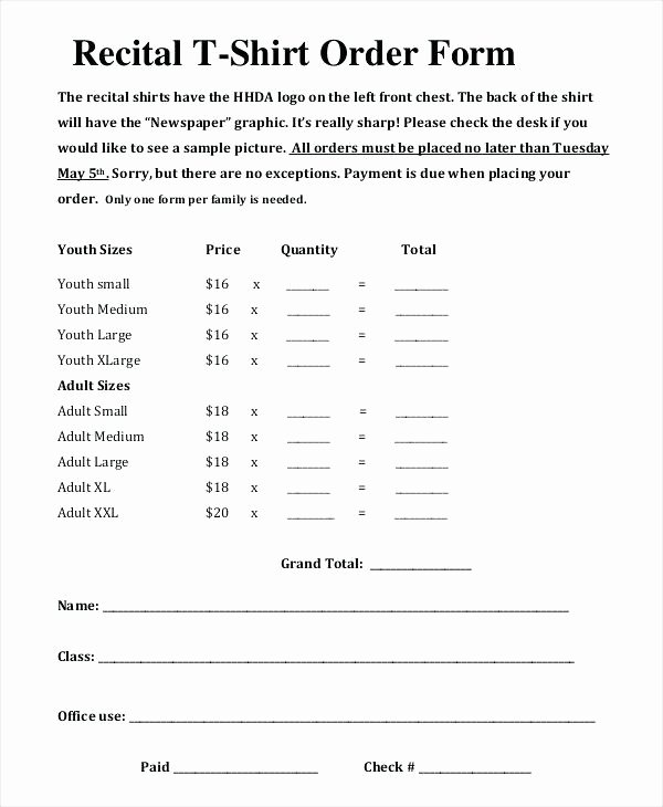 Shirt order forms Template Awesome Generic T Shirt order form Template Recital – Ustam