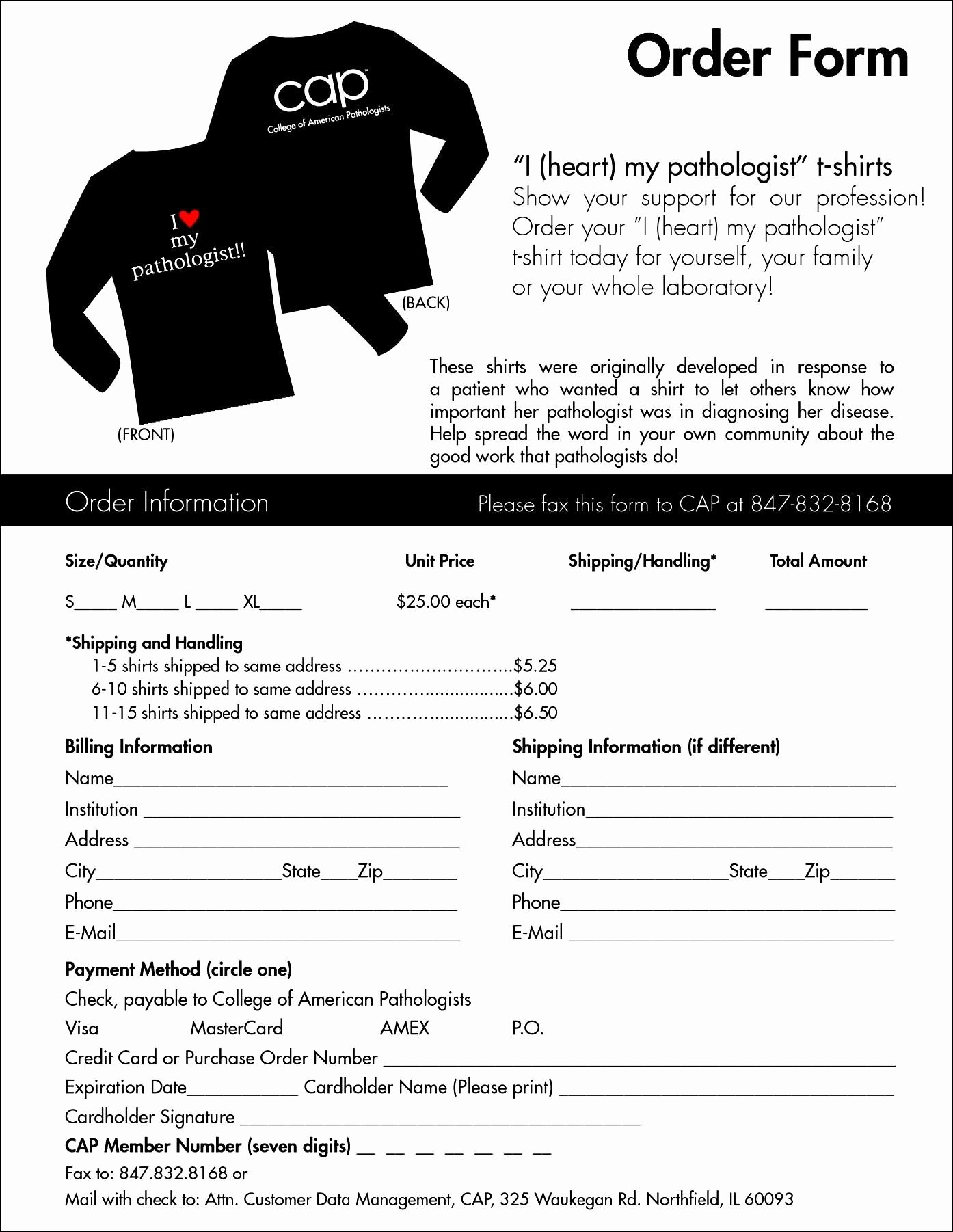 Shirt order forms Template Awesome T Shirt order form Template Microsoft Word