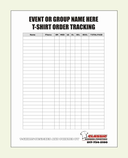 Shirt order forms Template Beautiful Blank T Shirt order form Template …