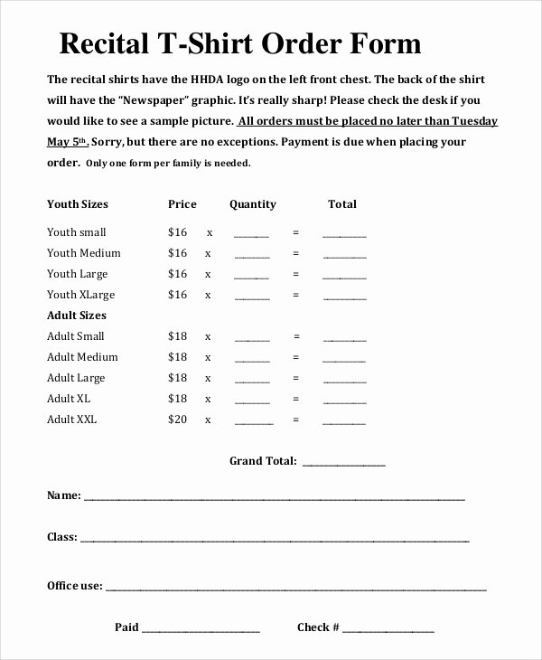 Shirt order forms Template Luxury 11 Sample T Shirt order forms