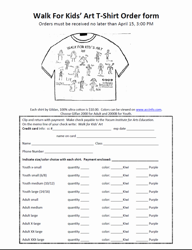 Shirt order forms Template Luxury form T Shirt order form
