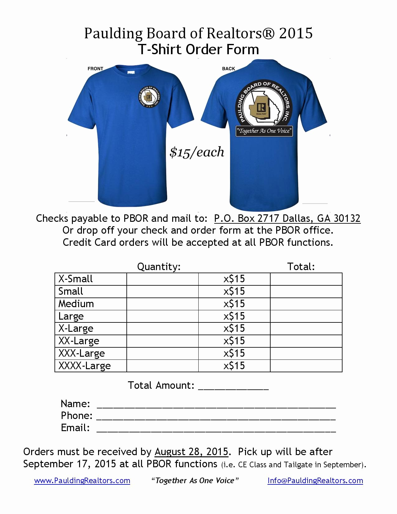 """Shirt order forms Template Unique Wel E to the Paulding Board Realtors — """"to Her as"""