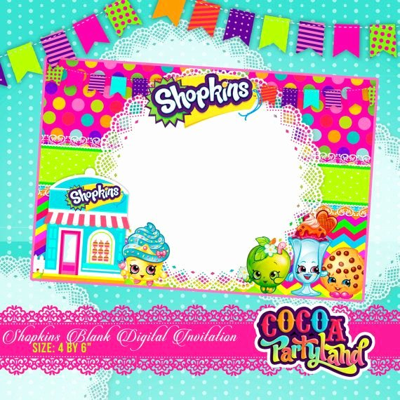 Shopkins Invitations Template Free Awesome Shopkins Blank Digital Invitation Printable