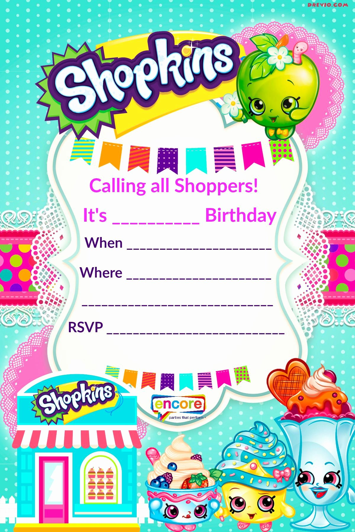 Shopkins Invitations Template Free Awesome Updated – Free Printable Shopkins Birthday Invitation