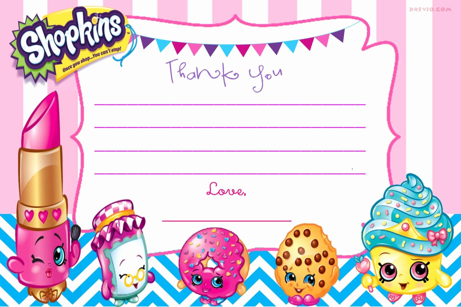 Shopkins Invitations Template Free Beautiful Free Printable Shopkins Thank You Card Template – Drevio