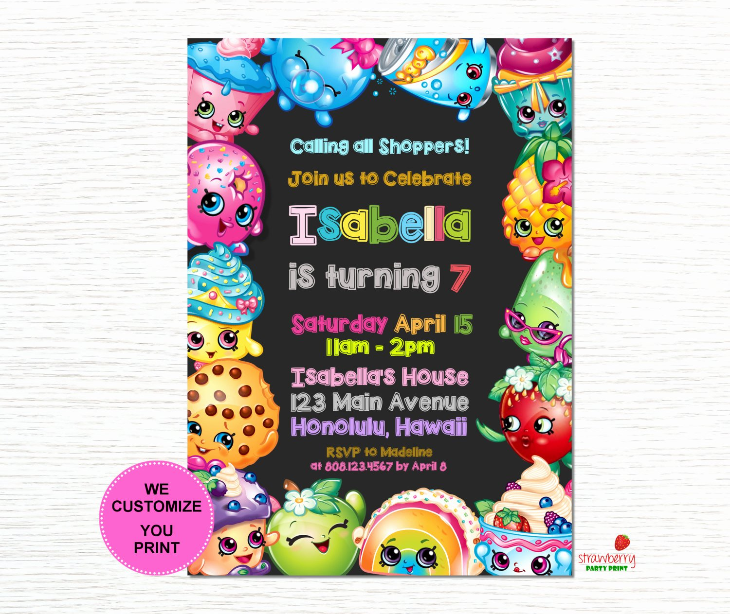 Shopkins Invitations Template Free Beautiful Shopkins Birthday Invitation Shopkins Invitation Shopkins