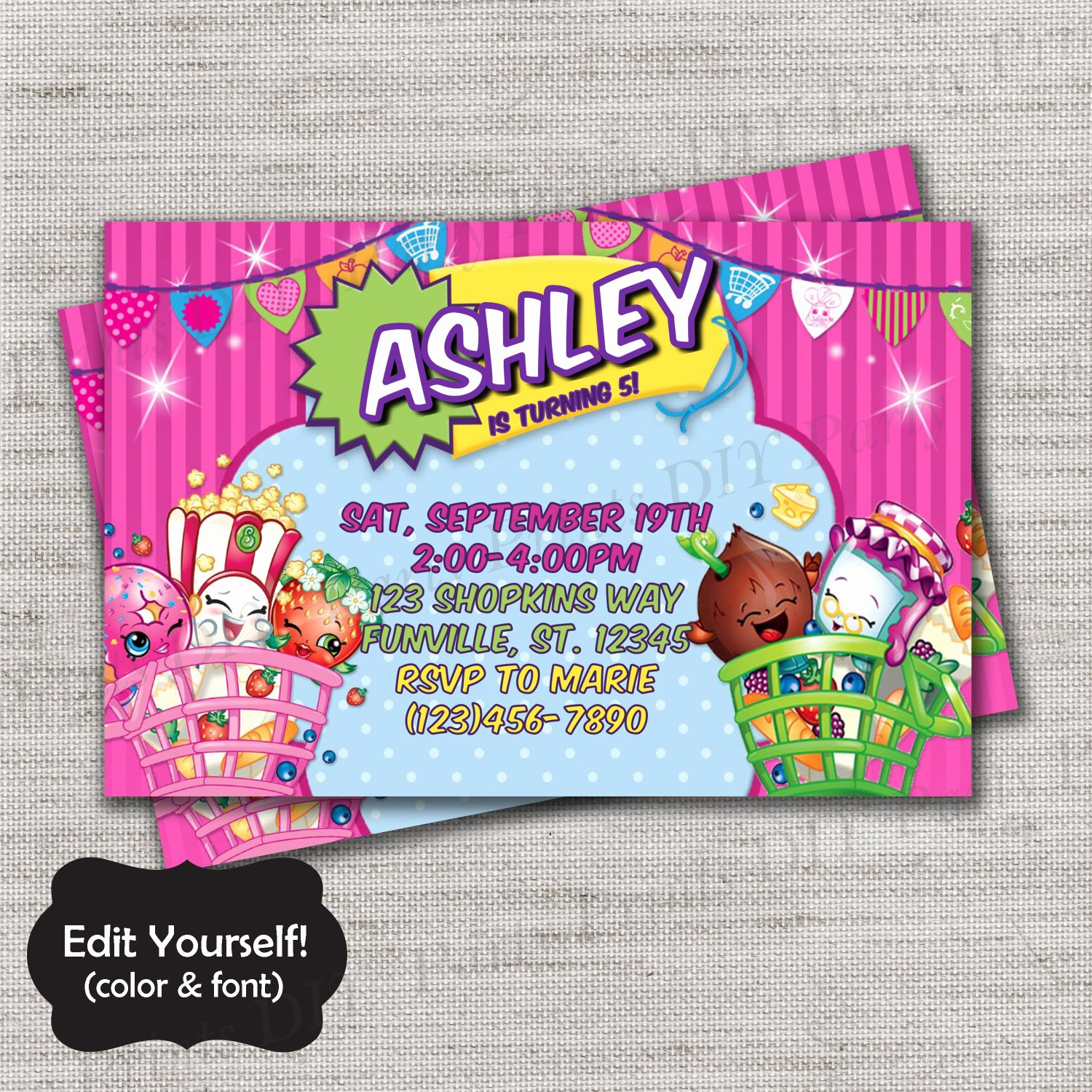 Shopkins Invitations Template Free Best Of Shopkins Invite Templatediydiy Templateinstant