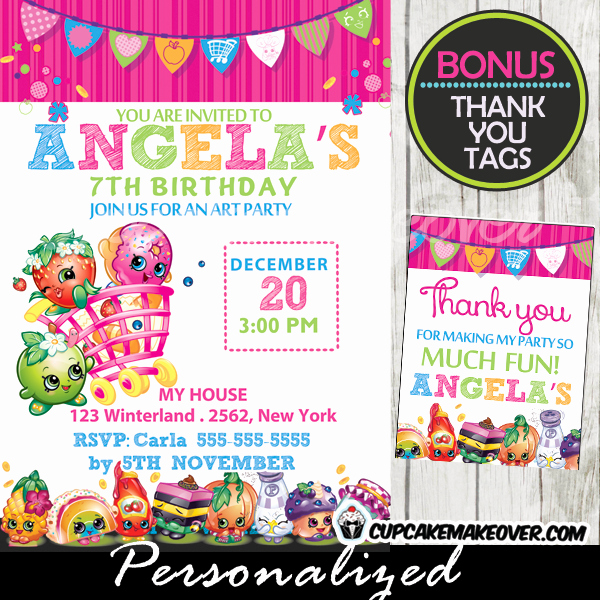 Shopkins Invitations Template Free Elegant Shopkins Birthday Party Invitation Personalized D3